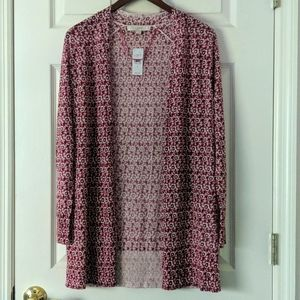 LOFT Thin Knit Open Front Cardigan Floral Print S